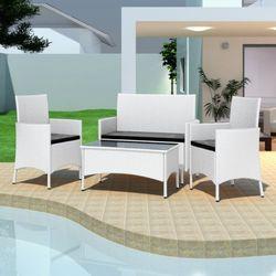 vidaXL Zestaw mebli polirattanowych (2 fotele + sofa stół) Darmowa wysyłka i zwroty