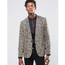 Religion Skinny Blazer In Leopard Print Rayon - Tan