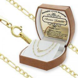 Złoty łańcuszek splot Figaro (pr 585) - prezent z możliwością graweru