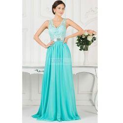 Wieczorowa suknia długa, turkusowa suknia na wesele, studniówkę