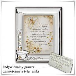 Posrebrzana ramka na zdjęcie Pamiątka Chrztu Św. prezent z grawerem dedykacji