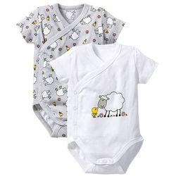 Body niemowlęce kopertowe z krótkim rękawem (2 szt.), bawełna organiczna bonprix biały + matowy srebrny