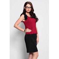 3920-2 Sukienka baskinka z ozdobnymi falbankami - ciemny róż