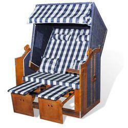 vidaXL Leżak plażowy, fotel składany, niebiesko biała krata, niebieski rattan Darmowa wysyłka i zwroty