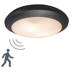 Lampa sufitowa Umberta okrągła czarna z czujnikiem ruchu