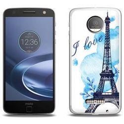 Fantastic Case - Lenovo Moto Z Force - etui na telefon Fantastic Case - niebieska wieża eiffla
