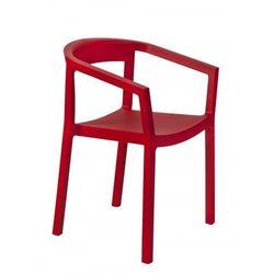 Krzesło z podłokietnikami do hotelu restauracji kawiarni Resol Peach czerwone
