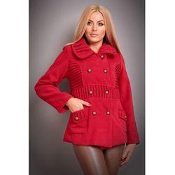 Kurteczka damska z okrągłym kołnierzem - Fashion Moda-6533 czerwona