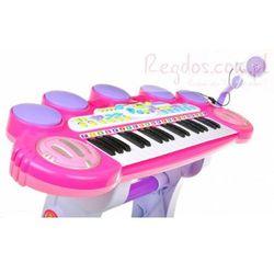 Różowe Organki Keyboard - Stolik, Krzesełko, Mikrofon