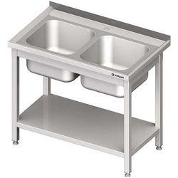 Stół ze zlewem dwukomorowym z półką STALGAST 1000x700x850