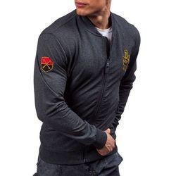 Antracytowa bluza męska bez kaptura z nadrukiem Denley 0491 - ANTRACYTOWY