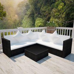 vidaXL Czarny, poliratanowy zestaw wypoczynkowy z 2 sofami dwuosobowymi Darmowa wysy?ka i zwroty