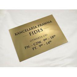 SZYLD KANCELARIA PRAWNA - godziny otwarcia - SZ030 - złoty - wym. 297x210mm (A4)