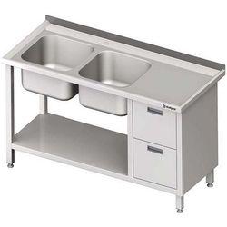 Stół ze zlewem dwukomorowym z dwiema szufladami i półką STALGAST 1700x700x850 lewy