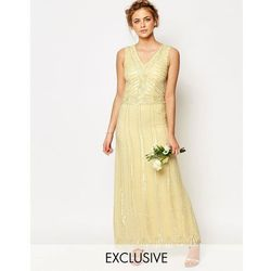 Maya Vintage Embellished Maxi Dress - Yellow