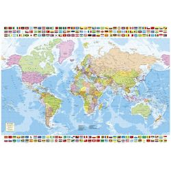 Puzzle 1500 Mapa polityczna Świata z flagami