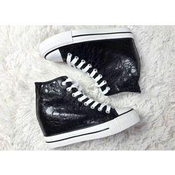 Błyszczące trampki sneakersy Black