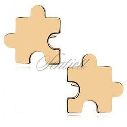 Srebrne kolczyki puzzle - pozłacane - Z1024G