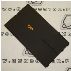 Obudowa Sony Ericsson W350i tylna / pokrywa baterii czarna pomarańczowy znaczek