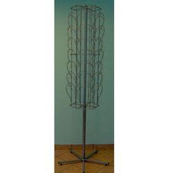 Metalowy, obrotowy, sześcienny stojak na czapki - 42 elementy - w kolorze srebrnym
