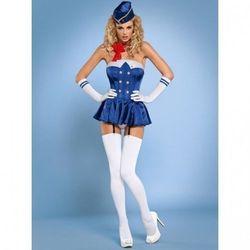 Stewardess gorset kostium 6-częściowy L/XL