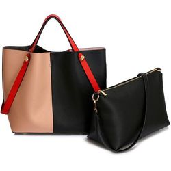 7b849bd9fe1c9 Torebka damska shopper bag czarna/pudrowy róż - czarny ||czerwony ||różowy