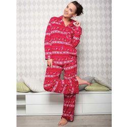 Piżama damska z mikro polaru rozpinana bordowa CIEPŁA