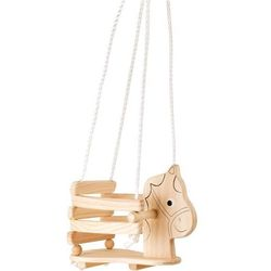 Huśtawka drewniana z zabezpieczeniem dla Dzieci Konik