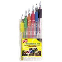 Długopisy żelowe fluorescencyjne 6 kolorów