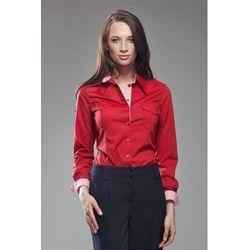 Czerwona Klasyczna Koszula z Plisami w Kratkę