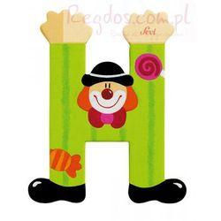 Drewniana literka H, Clown