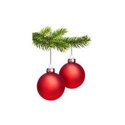 Foto naklejka samoprzylepna 100 x 100 cm - Czerwone kulki Boże Narodzenie z gałęzi jodły