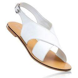 Sandały skórzane bonprix biały