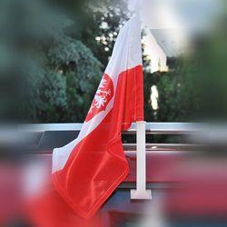 Flaga Polski z godłem na samochód 25 x 35 cm z uchwytem