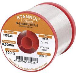 Cyna lutownicza z ołowiem Stannol 535236 Sn60Pb39Cu1 0.5 mm 100 g