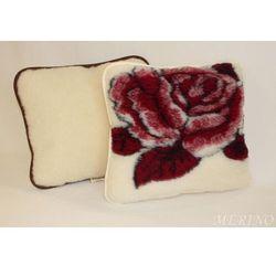 Poduszka z wełny merynosa 45x75 - Róża bordo