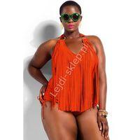 Pomarańczowy strój kąpielowy dla puszystych| Fatkini, strój kapielowy jednoczęściowy z frędzelkami Plus Size