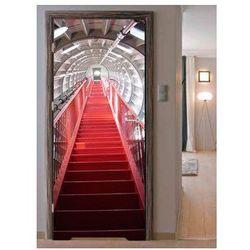 Naklejka na drzwi - Czerwone schody
