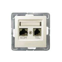 Gniazdo komputerowo - telefoniczne, MMC Ospel Impresja - Ecru - GPKT-Y/K/m/27