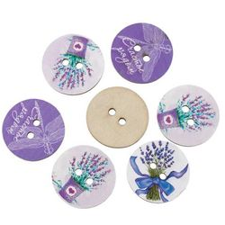 Wood Sewing Button Scrapbooking Round At Random 2 Holes Lavender Pattern 24.0mm(1