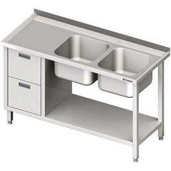 Stół ze zlewem dwukomorowym z dwiema szufladami i półką STALGAST 1800x600x850 prawy
