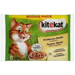 KITEKAT 4x100g 3+1gratis Karma dla kota myśliwskie dania w galarecie