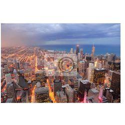 Fototapeta Chicago widok z lotu ptaka o zmierzchu