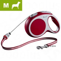 Smycz dla psa Flexi Vario M czerwona, 8 m - Lampka LED-Lighting-System