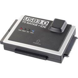 Przejściówka adapter do dysków twardych Renkforce USB 3.0, wtyk USB A <=> SATA/IDE, 5 Mbit/s, czarny