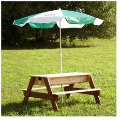AXI Drewniany stolik piknikowy z parasolką + piaskownica piasek/woda Zapisz się do naszego Newslettera i odbierz voucher 20 PLN na zakupy w VidaXL!