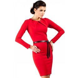Sukienka ołówkowa z ćwiekami MOE043 czerwona
