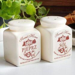 Zestaw solniczka i pieprzniczka ceramiczna SWEET HOME - rabat 10 zł na pierwsze zakupy!