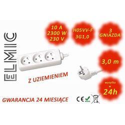 Przedłużacz elektryczny listwa bez włącznika - 3.0 mb - WS NF 03 / 3.0 / 1.0 / K - ELMIC biały