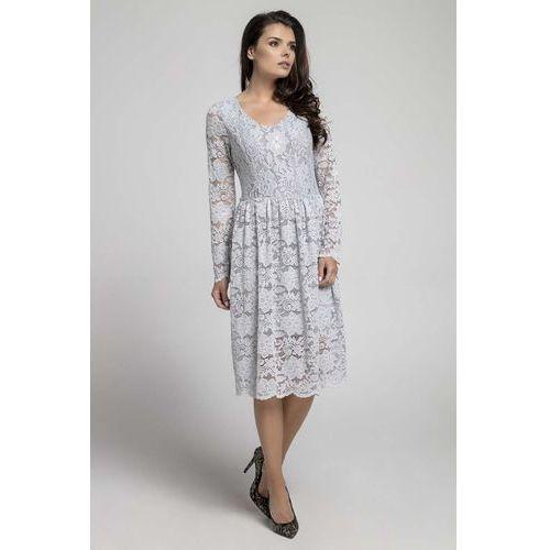 fafb8b5031 Szara Wizytowa Rozkloszowana Sukienka z Koronki - porównaj zanim kupisz